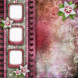 Stock Photo: Vintage pink photo frames with flowers
