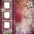 Vintage pink photo frames with flowers — Stock Photo #19332961
