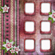 Vintage pink photo frames with flowers — Stock Photo
