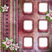 Vintage molduras cor de rosa com flores — Foto Stock