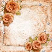 Card for greeting or invitation on the vintage roses background — Stock Photo