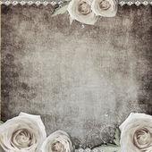 与玫瑰复古浪漫背景 — 图库照片