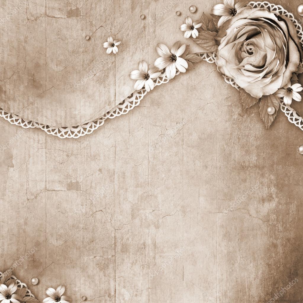 Vintage texturerat bakgrund med en bukett blommor, spets och — Stockfoto #19903707 — Depositphotos