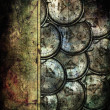 Grunge abstract background with antique clocks — Stock Photo