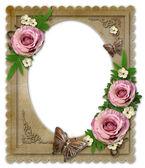 Oude vintage papier frame met bloemen geïsoleerd op wit — Stockfoto