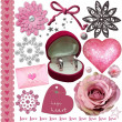 Pink wedding elements set — Stock Photo