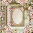 Old decorative album cover with frame, flowers and pearls - Stock Photo