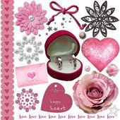 粉红色婚礼元素集 — 图库照片