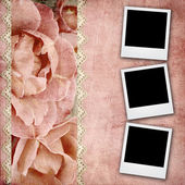Beautiful wedding background withroses banner and frames — Stock Photo