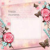 Greeting card with flowers, butterfly on pink paper vintage back — Stock Photo