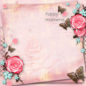 Greeting card with flowers, butterfly on pink paper vintage back — Foto Stock