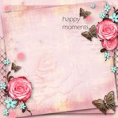 Tarjeta de felicitación con flores, mariposa en espalda vintage papel rosa — Foto de Stock