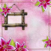 Růžové svatební lilie hranice, bambusový rám na růžovém pozadí — Stock fotografie