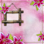 Pink bridal lilies border , bamboo frame on pink background — Stock Photo