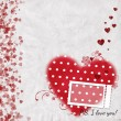 Card for congratulation or invitation with red hearts — Stock Photo #24985425