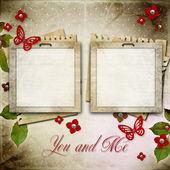Cadre vintage d'invitation ou de félicitation — Photo