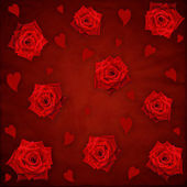 Red grunge texture background with roses and hearts — Stock Photo