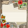 Collage  with photo frame, flower, old paper on wood background  — Stock Photo