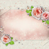 Arrière-plan de félicitation avec belle rose — Photo