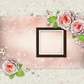 Achtergrond voor heilwens met mooie roos — Stockfoto