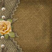 Textile cover for an album with photos — Stock Photo
