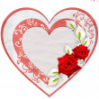 Paper heart with red roses isolated on white background — Stock Photo