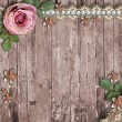 Old wooden background with a  flowers, pearls and lace  — Stock Photo