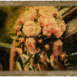 Vintage card with brides bouquet in retro car  — Lizenzfreies Foto