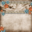 Beautiful wedding background with  horizontal roses banner and l — Stock Photo