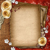 Vintage album with old paper shits, roses, lace — Stock Photo