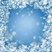Winter abstract background with bokeh lights, snowflakes — Stock Photo