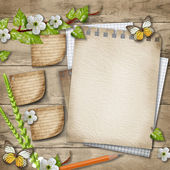 Blank paper with blossoming cherry branch, butterfly, pencil on — Stock Photo
