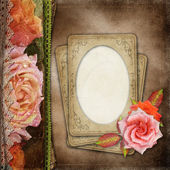 Vintage  Beautiful Roses Album Cover With Lace And Old Paper ( 1 — Stock Photo