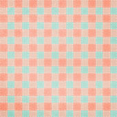Retro brightly colored blue and pink plaid textile fabric backgr — Stock Photo