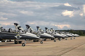 Seven airplanes Aero L-39 Albatros from Breitling Jet Team — Stock Photo