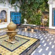 Stock Photo: Courtyard at Sidi Bou Said, Tunis, Tunisia