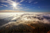 View on the sun over inversion from Jested — Stock Photo