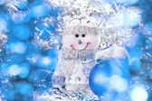 Christmas background with snowman and balls — Stock Photo