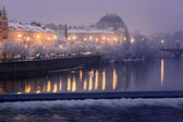 Smetanovo Embankment and Prague National Theatre — Stock Photo