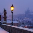 Charles bridge and Prague castle before dawn — Stock Photo #21034655