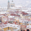 Roofs of Ledebursky palace and St. Nicolas church - Stock Photo