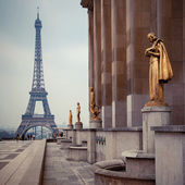 View from Trocadero on Eiffel tower, Paris — Stock Photo