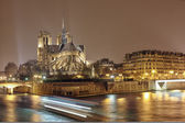 Night panorama of Cite island with cathedral Notre Dame de Paris — Stock Photo