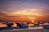 Sunrise over fishing boats on Bali — Stock Photo