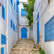 Side street at Sidi Bou Said, Tunis, Tunisia — Stock Photo