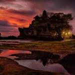 Sunset over hindu temple Pura Tanah Lot, Bali — Stock Photo