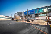 Aircraft Airbus A330 on parking stand in Prague airport — Stock Photo