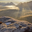 Stock Photo: Sunrise from Kleiner Winterberg, Bohemian Switzerland