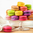French colorful macarons in a glass cake stand — Stock Photo #39966335