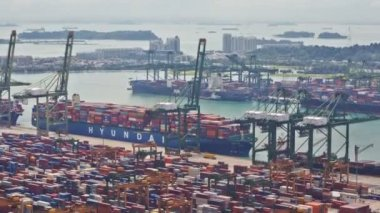 Timelapse of the Singapore port — Stock Video